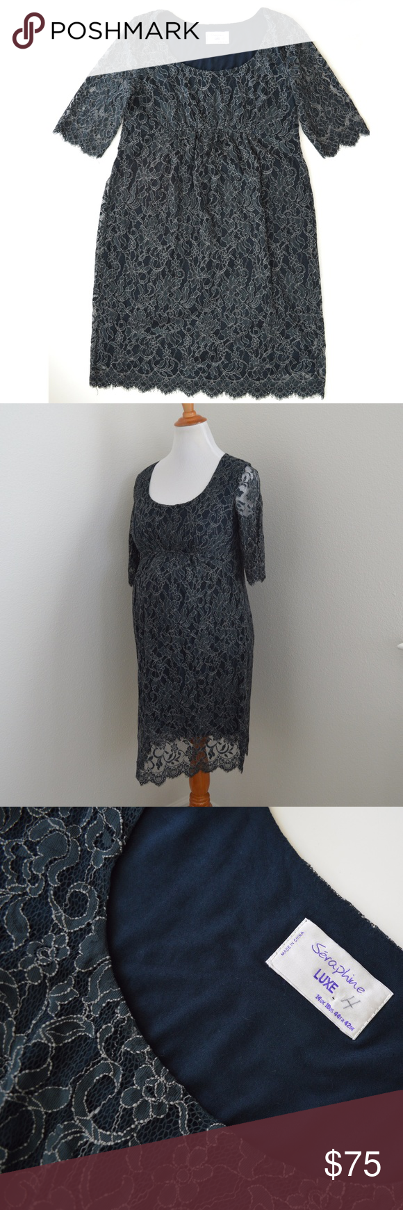 Seraphine luxe lace maternity dress blue green for your seraphine luxe lace maternity dress blue green for your consideration is a gorgeous seraphine luxe lace overlay maternity dress in us size 10 ombrellifo Images