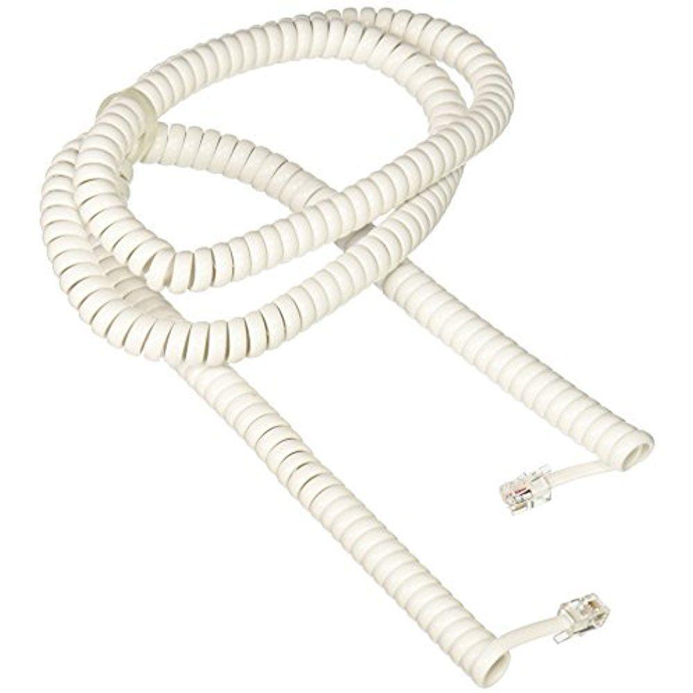 25ft White Modular Telephone//Phone Handset Coil Cord