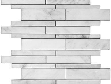 Marble Linear Mosaics Oriental White Polished Backsplash Wood Polish White Polish