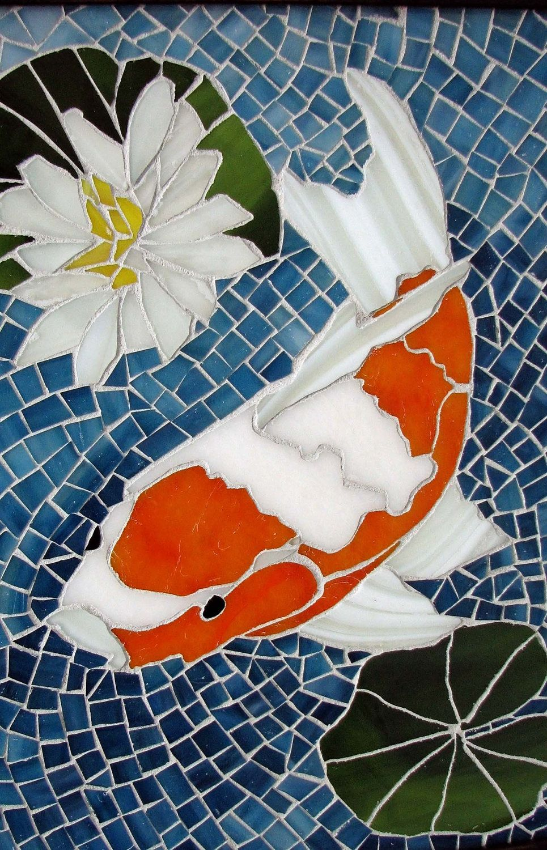 Mosaic fish koi mosaics and lotus for Pool of koi