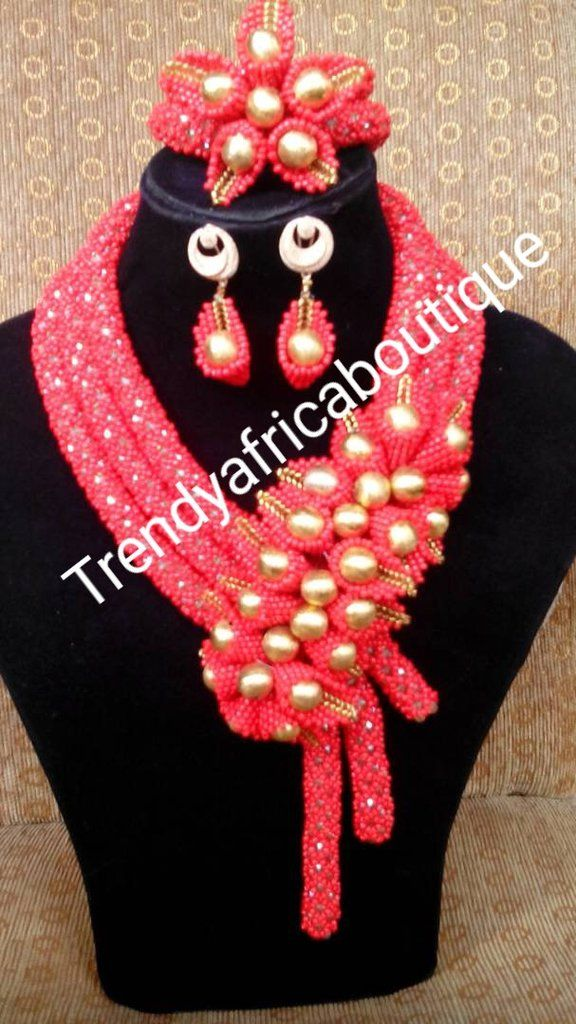 RED Nigerian Beaded necklace. Coral-necklace set for Traditional ...