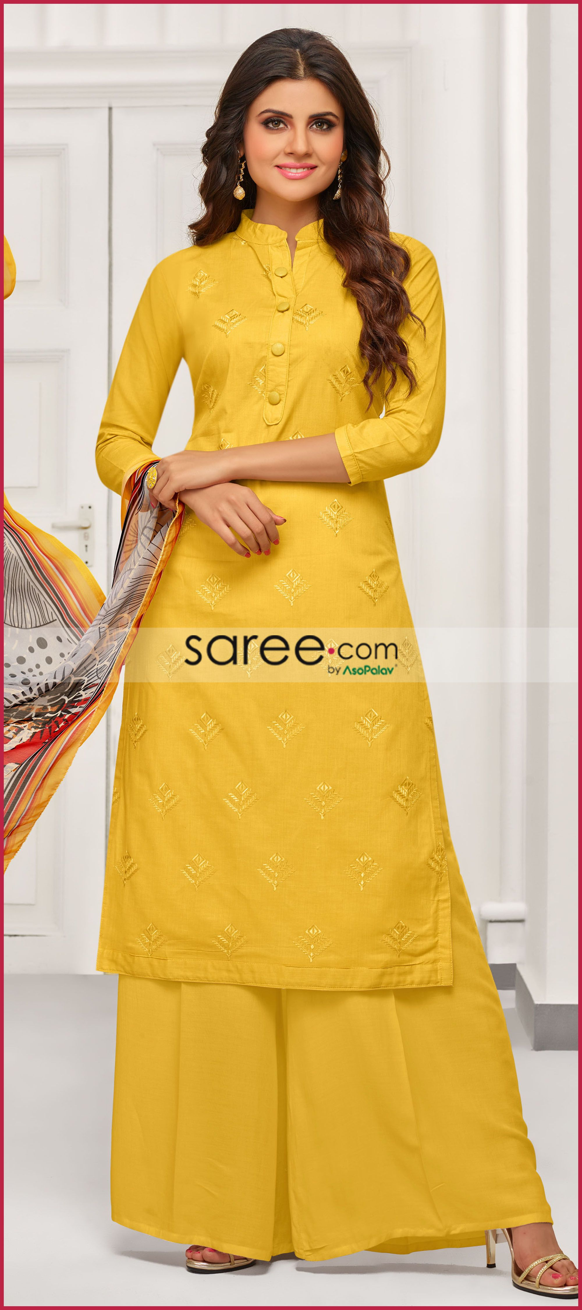 43bd410f08 Yellow Cotton Palazzo Suit With Embroidery | my harem itk | Palazzo ...