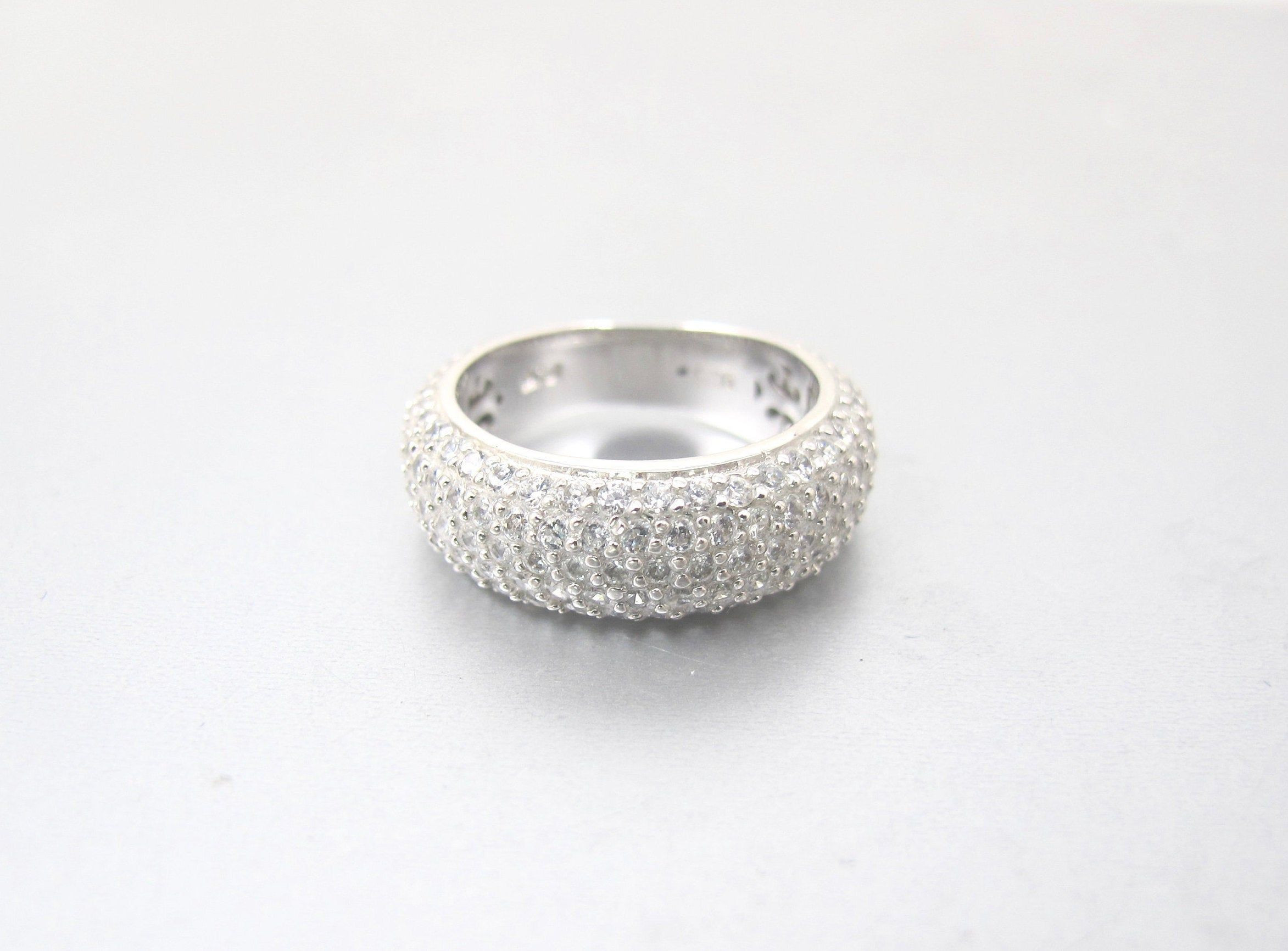 Sterling Cz Eternity Band Ring Vintage Cubic Zirconia Cigar Band Wedding Ring Anniversary Ring In 2020 Eternity Band Ring Anniversary Rings Diamond Rings Bands