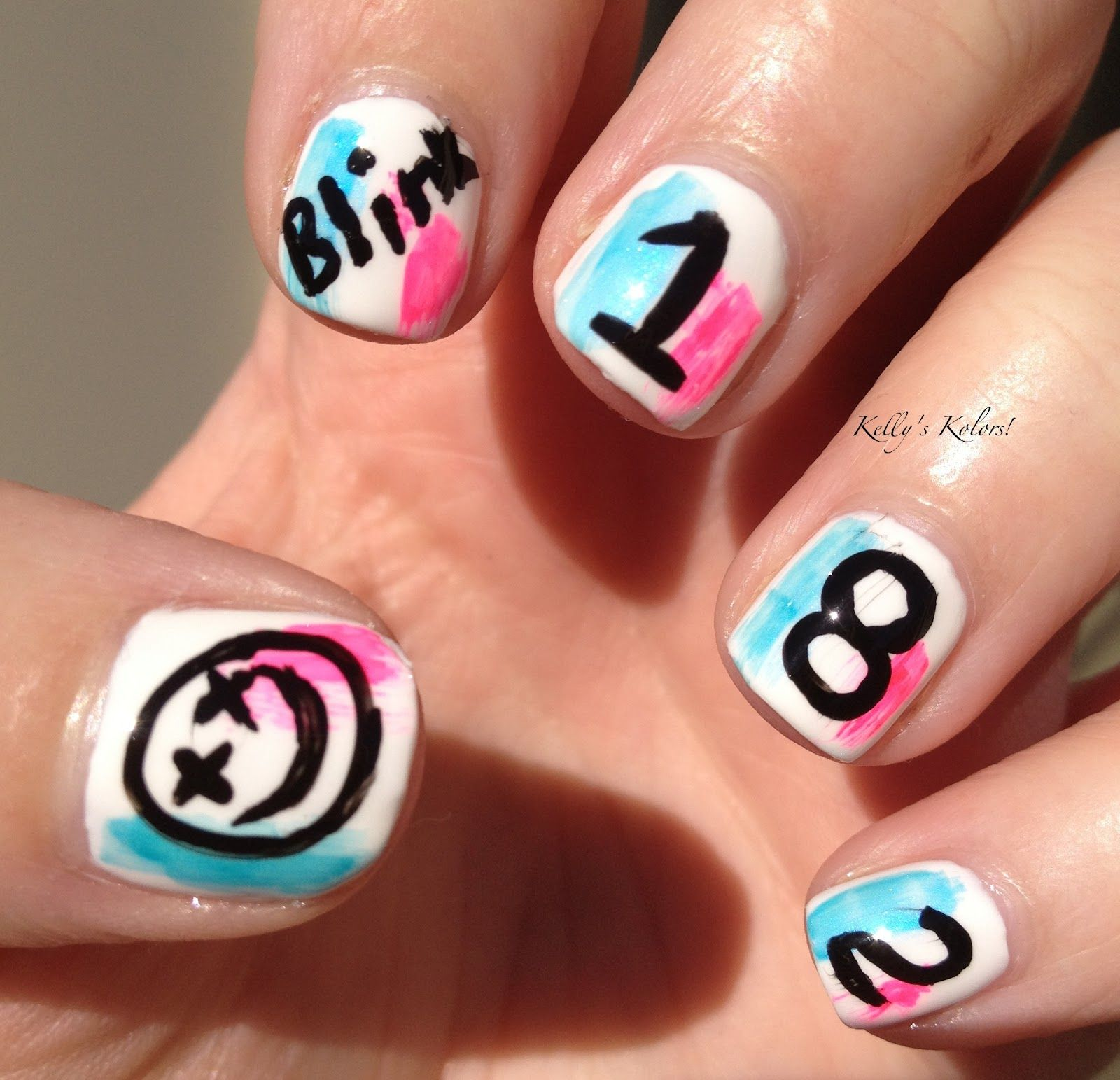 Blink-182 Nail Art, true fan would do this | Back to school ...