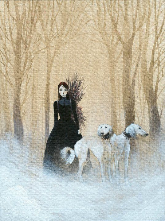 With a bundle of switches on her back, she follows her hounds wherever they lead.