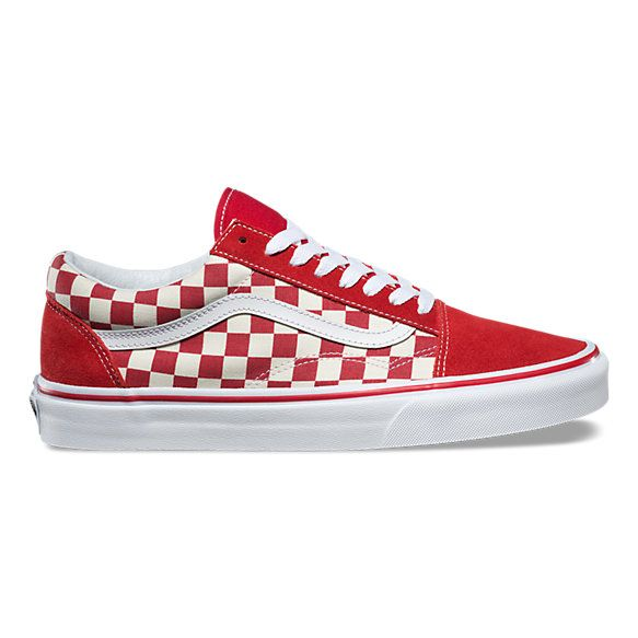Red checkered vans, Red shoes, Mens red