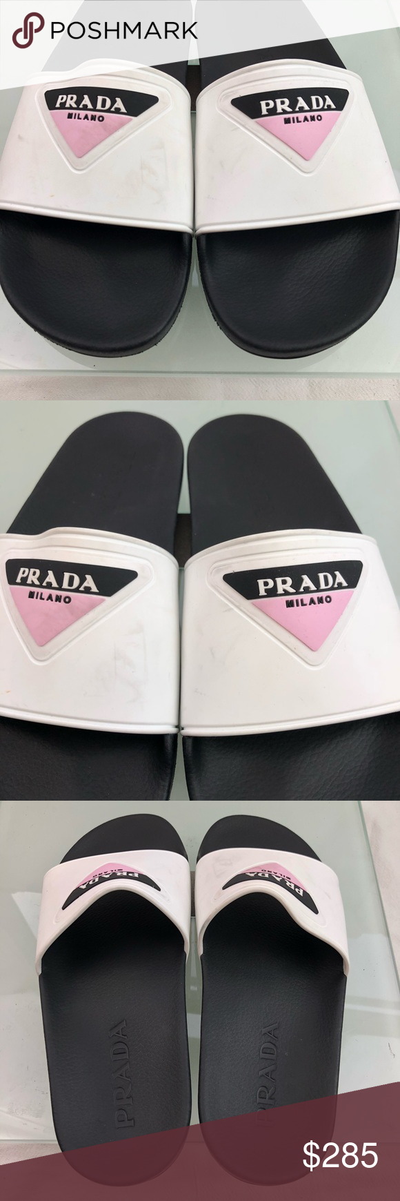 df5f468b658 Prada Logo rubber pool Slides sandals Excellent condition! No box. Retail  price online and at all big department stores for  350 plus tax.