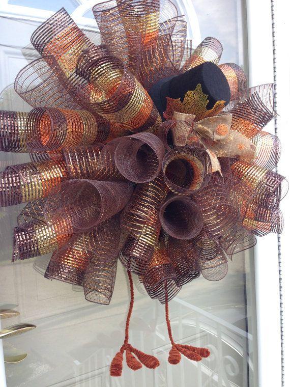 xl deco mesh fall wreath thanksgiving turkey wreath with legs