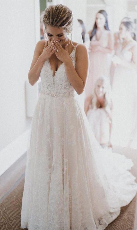 A Line V Neckline Lace Wedding Dress Wedding Dress Train Dream Wedding Dresses Wedding Dress Necklace