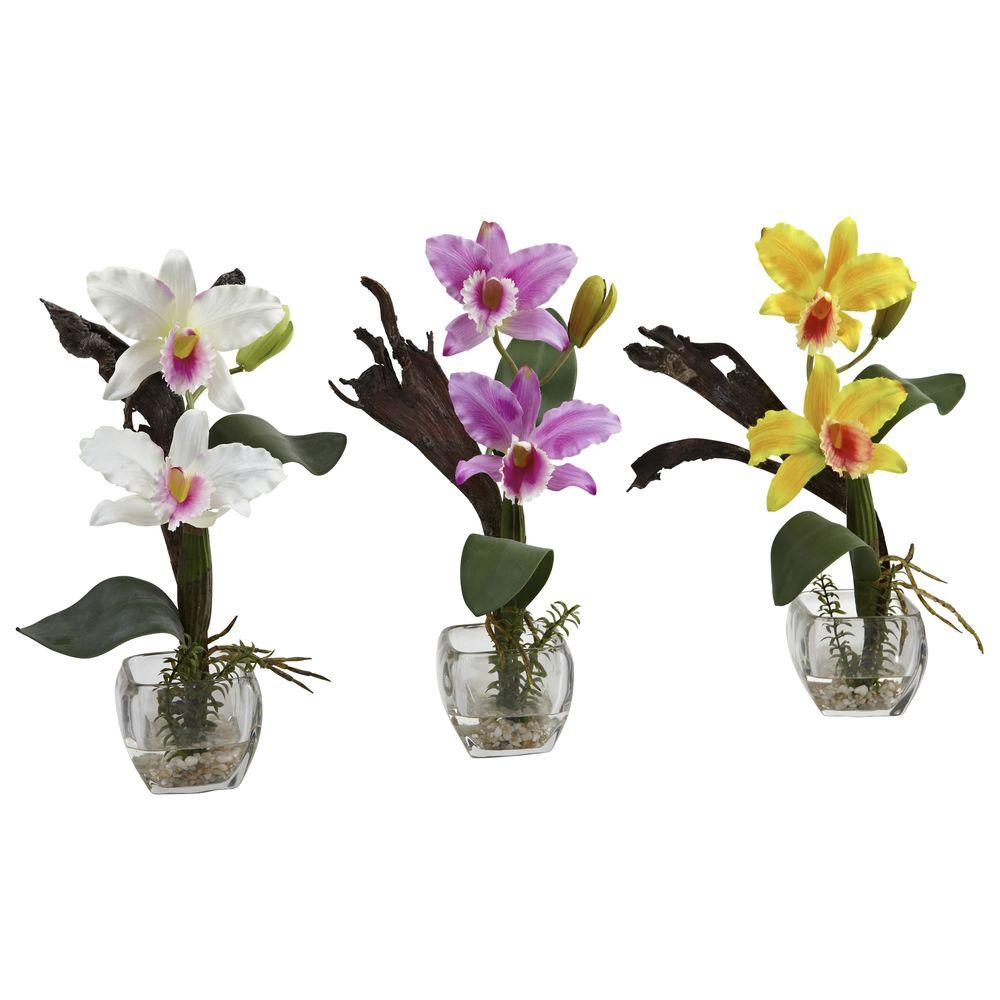 Nearly Natural Mini Cattleya Orchid Arrangement Set Of 3 1321 S3 The Home Depot Orchid Flower Arrangements Cattleya Orchid Orchid Arrangements