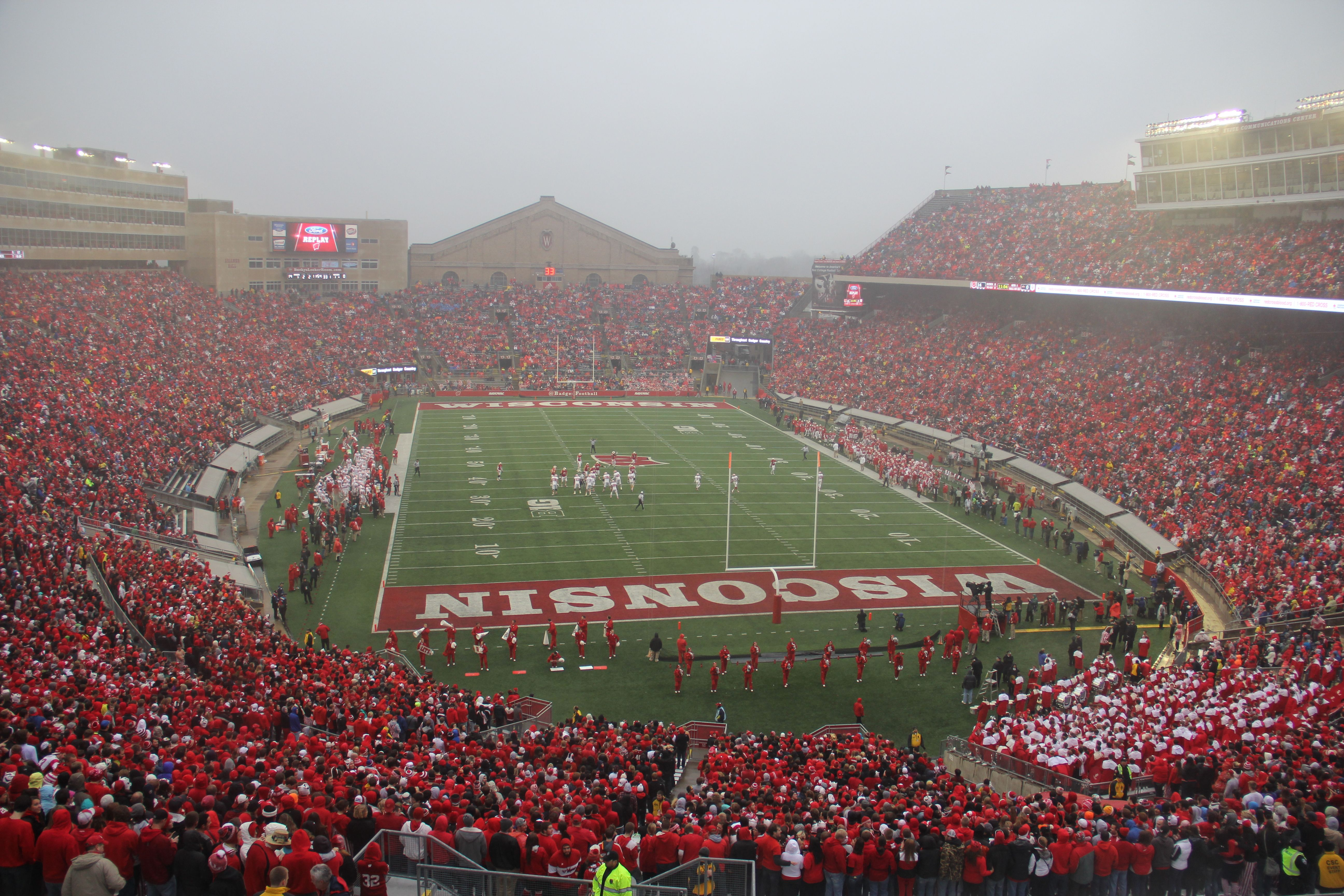 Rainy day at Camp Randall Stadium for the Indiana game