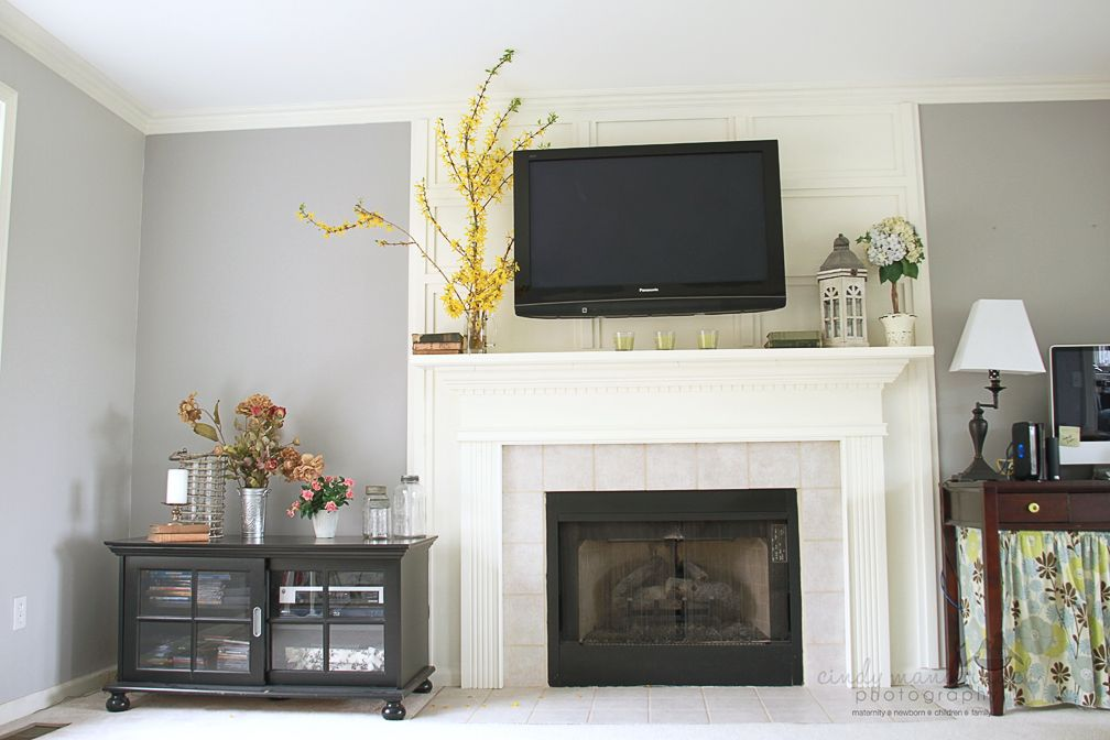 another example of hiding tv cords behind trim over the. Black Bedroom Furniture Sets. Home Design Ideas