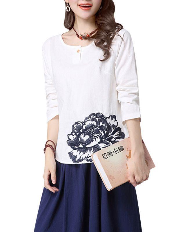 T shirt tattoo girl casual women vintage embroidery long sleeve loose t-shirt #j #crew #t #shirts #womens #jeans #and #a #t #shirt #girl #kirkland #womens #t #shirts #t-shirt #womans #body