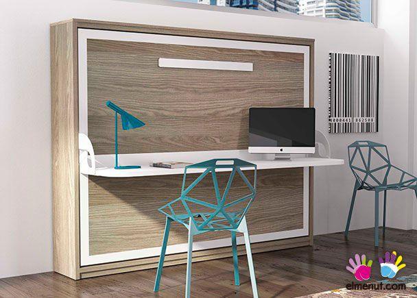 Cama abatible horizontal de matrimonio con escritorio modelo sinkro novedades de mueble juvenil - Cama plegable escritorio ...