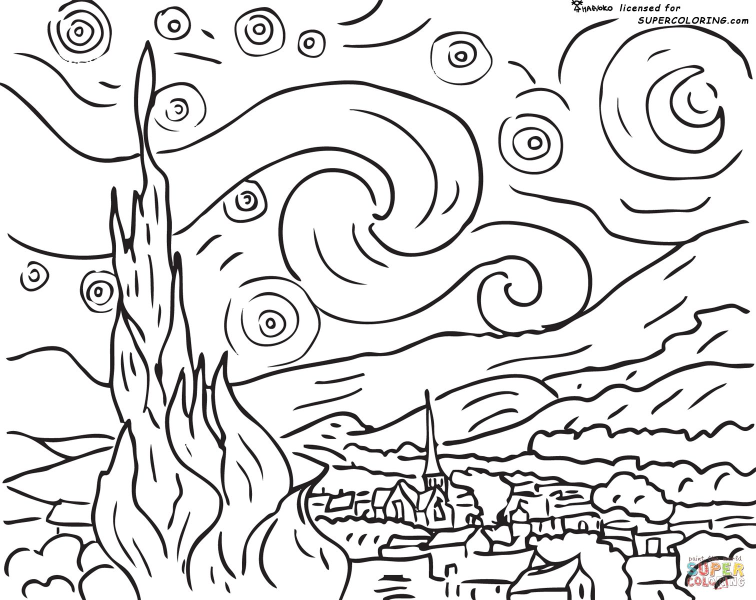 Starry Night By Vincent Van Gogh Coloring Page Supercoloring
