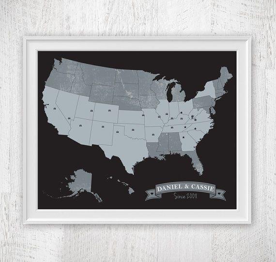 Custom Black White & Grey US Map art print / by corkandbirchmaps ...