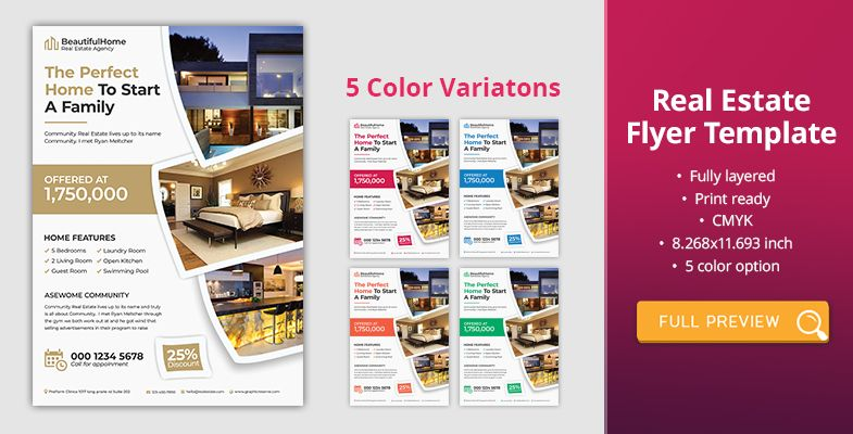 Product Promotion Postcard Real Estate Flyer Template Flyer