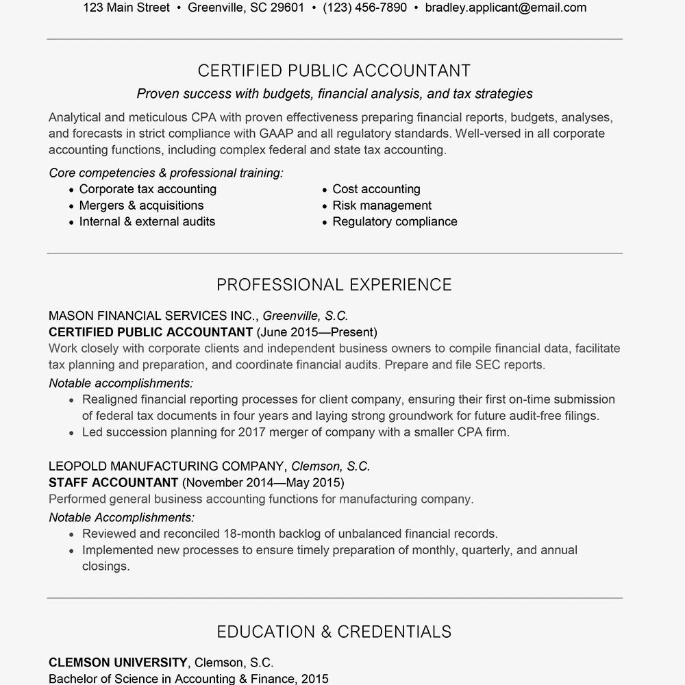 Screenshot Of An Accounting Job Resume Sample