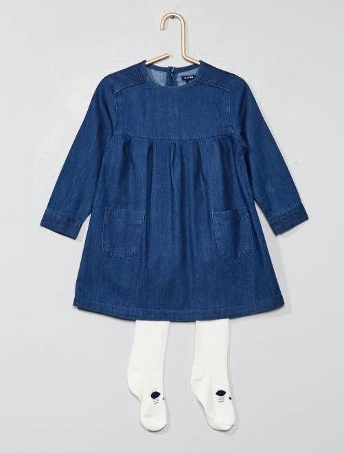 589483b84 Conjunto de vestido vaquero + medias AZUL Bebé niña - Kiabi