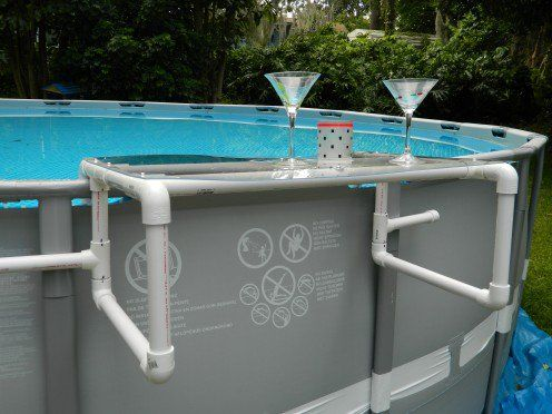 Build A Great Shelf For Your Above Ground Pool Diy Pool Diy Swimming Pool Pool Drinks