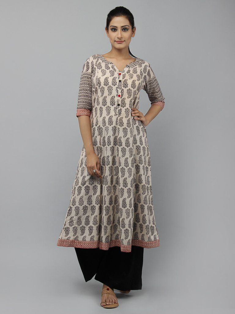 4b9db45887e Off White Black Block Printed Cotton Kurta with Palazzo -Set of 2 Printed Kurti  Designs