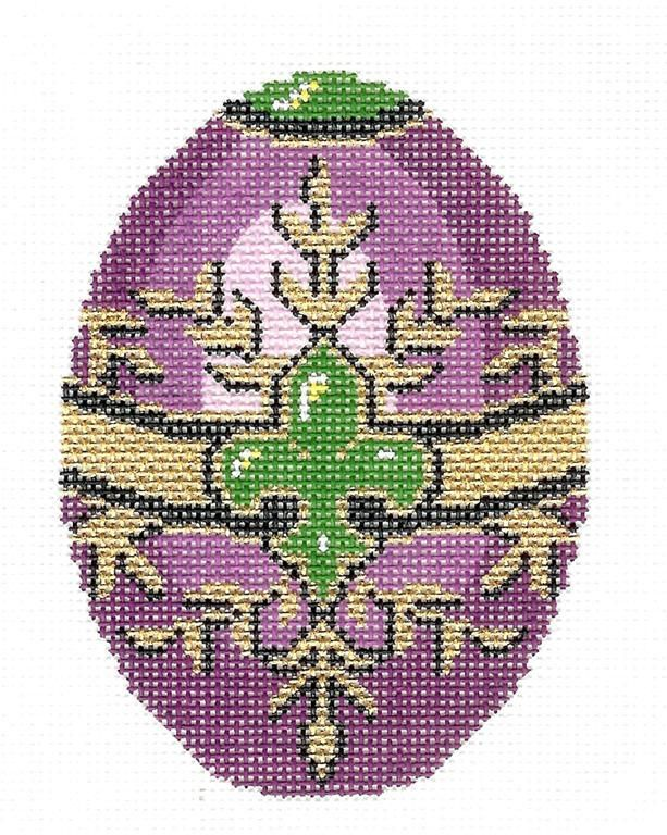 Jeweled EGG handpainted Needlepoint Canvas Ornament HP 474 by LEE