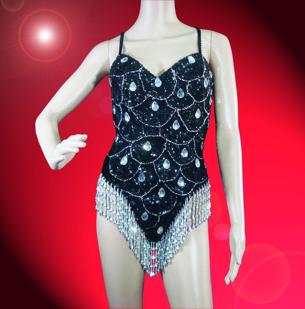 Black Silver Showgirl Drag Latin Burlesque Cabaret Sequin Leotard Dance Dress  #Moulin_Rouge_Dancewear #Dress