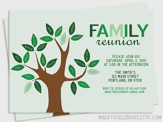 Printable Family Reunion Family Tree by MadeToCelebrate on Etsy - invitations for family reunion