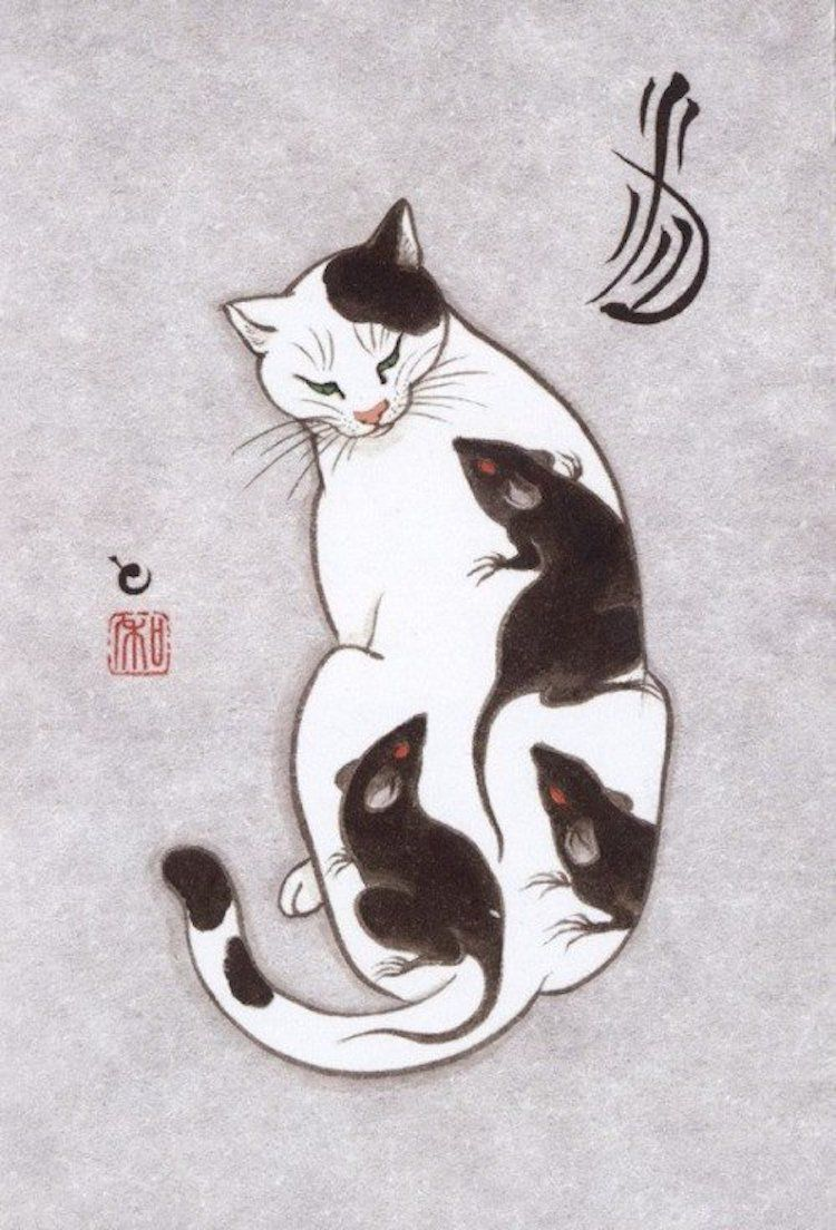 Cats Are Tattooing Other Cats In Surreal Japanese Ink Wash Paintings Cat Illustration Cat Art Cat Tattoo