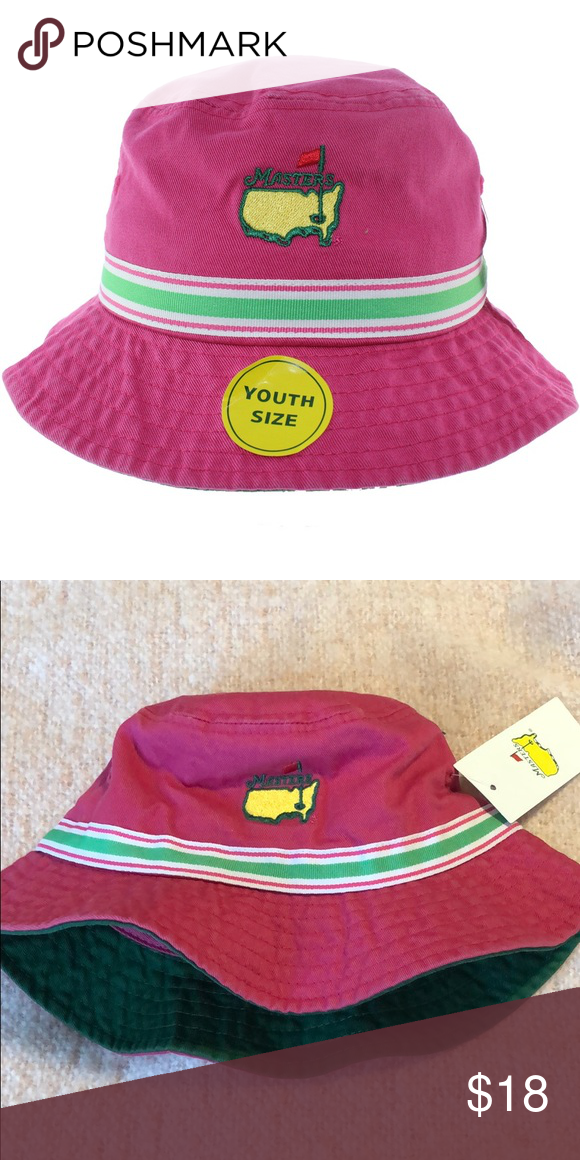 e8f311965e5 Masters Pink Bucket Hat Master Youth Bucket Hat! Super cute and comfortable  hat!! Pink with a green