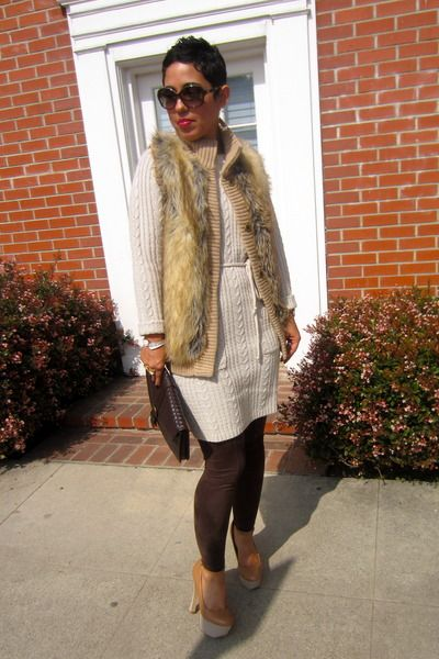 Discover this look wearing Bronze Cupid Pumps, Beige Sweater Dress H&M  Dresses - No Autographs Please by mimig styled for Chic, Brunch in the Fall