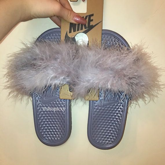 45ac037180d6d All Grey Nike Faux Fur Slides Limited Edition by ShopIcxy on Etsy ...