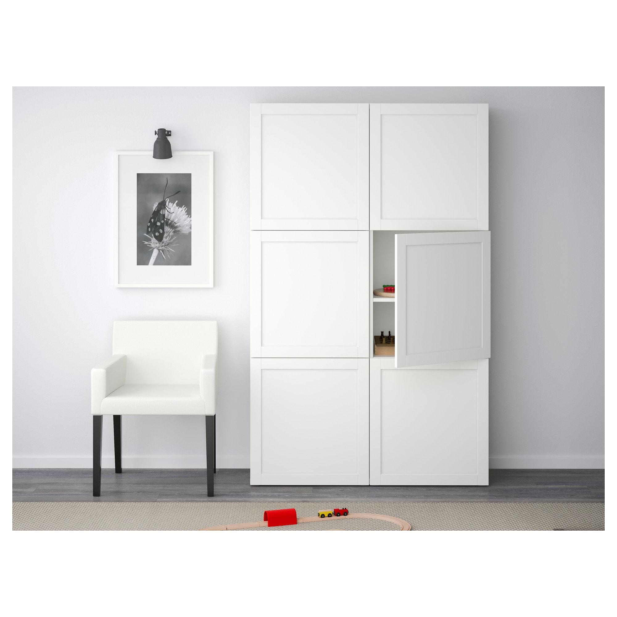 Ikea Besta Storage Combination With Doors Hanviken White Ikea