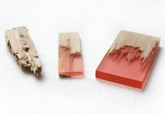 Artesanato Cobre Bolo Passo A Passo ~ Joias e bijuterias de resina colorida com pedaços de madeira lascada Resina, Madeira e Bijuterias