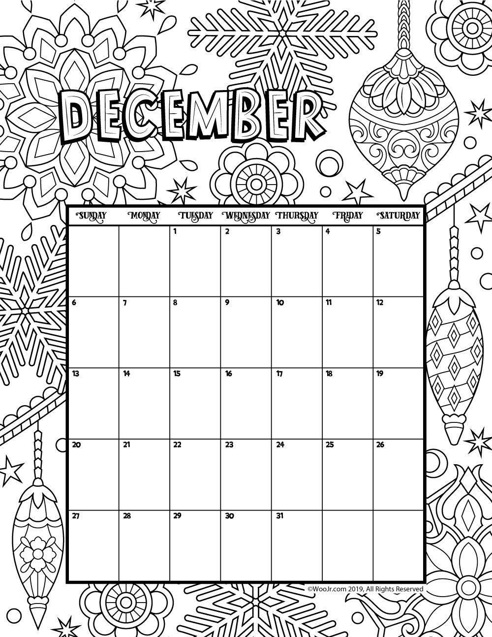 December 2020 Coloring Calendar Kids calendar, New year