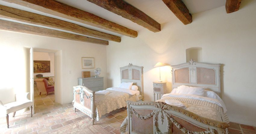 Beautiful Beamed Ceiling In Traditional French Bedroom Rental Manor House South West France