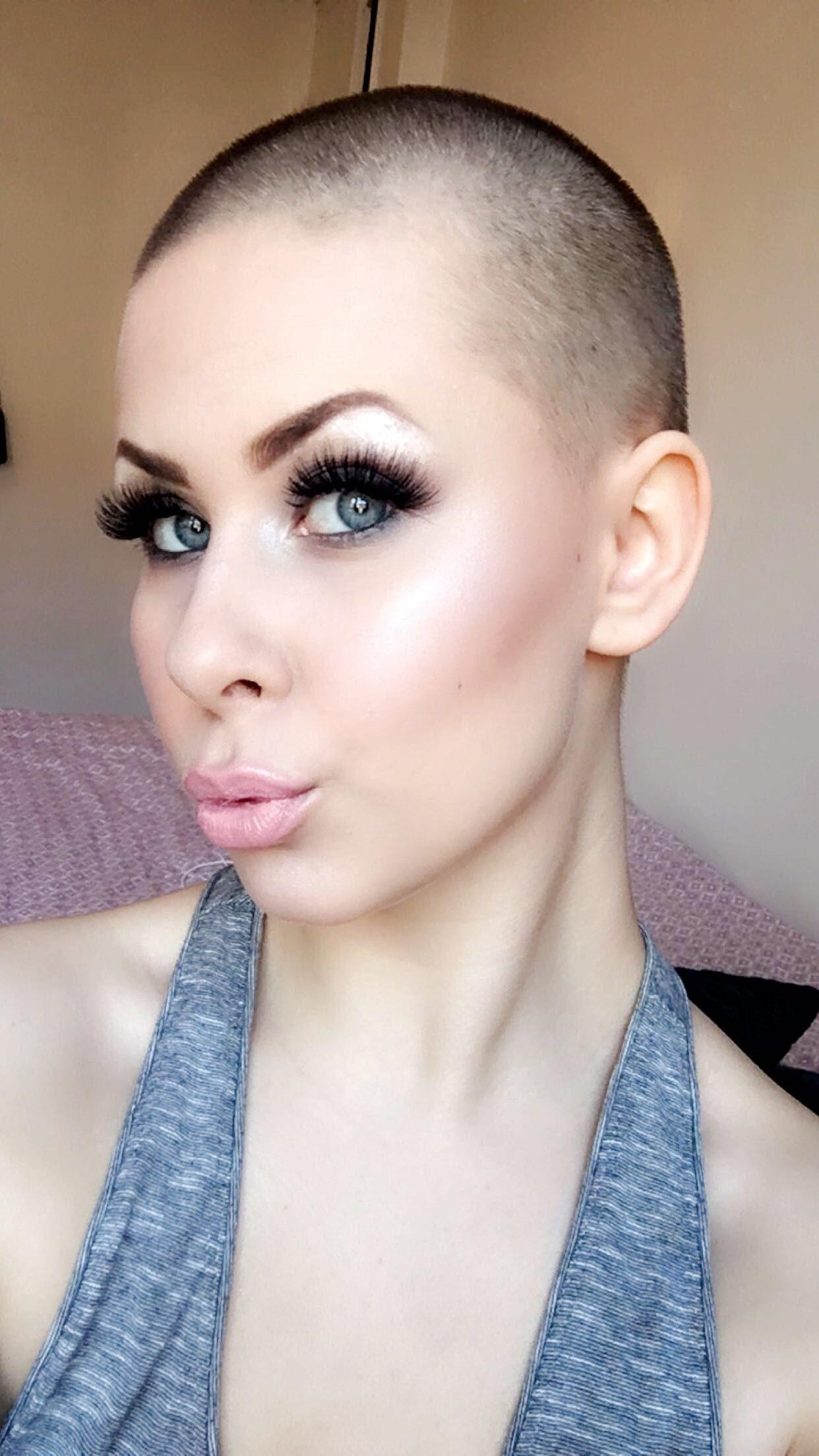 Bald cut hair shaved short woman
