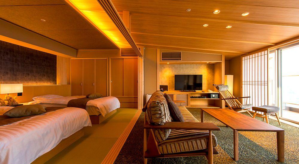 伊豆の海を臨む和のエグゼクティブルーム ホテル 旅館のリノベーションは石井建築事務所 熱海 リフォーム 改修 改築 設備投資 モダンハウスデザイン デザイナー 和モダン 内装