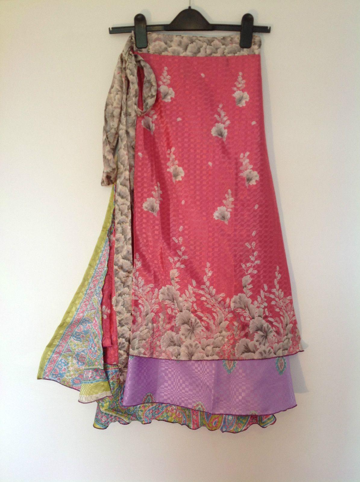 Striking Indian Silk-Blended Reversible Wrap around Boho Skirts Fits ...