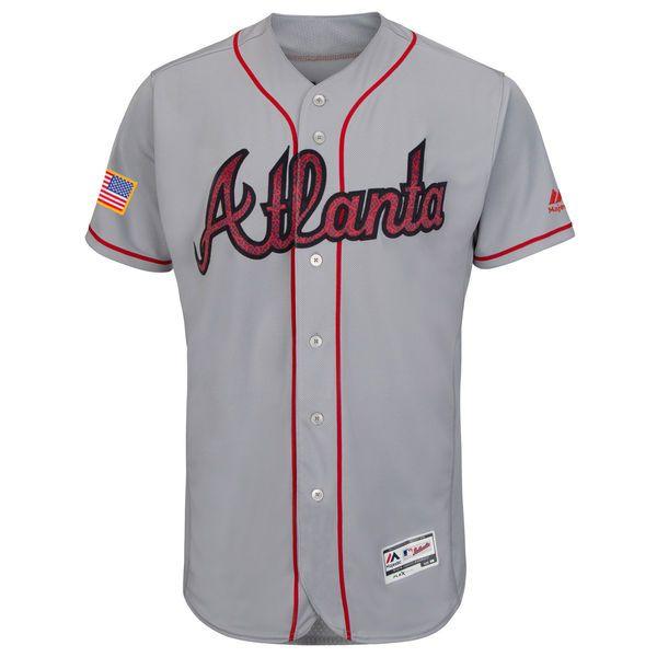 2de531456aa Men s Atlanta Braves Majestic Gray Fashion Stars   Stripes Flex Base Jersey