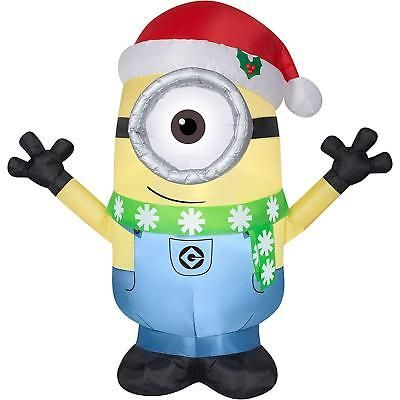 Inflatable Christmas Decoration Minion Carl With Santa Hat And Scarf