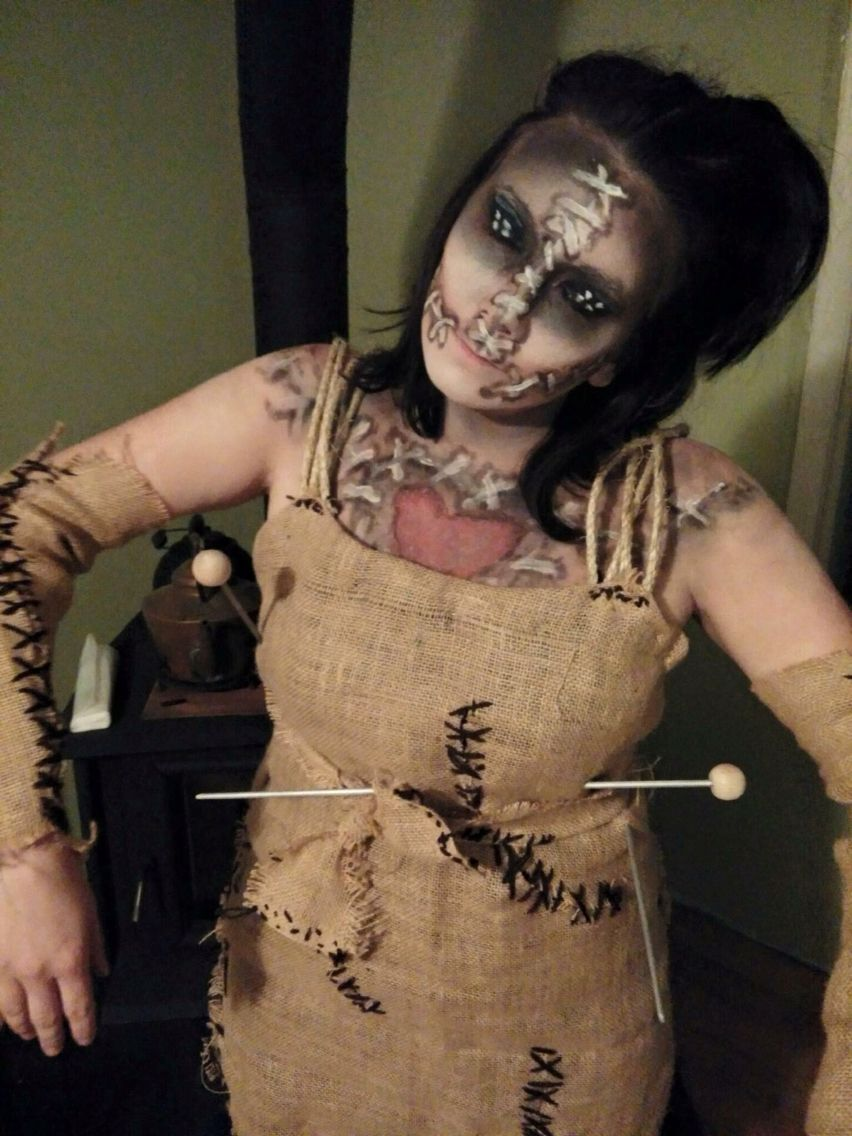 voodoo doll home made costume | halloween make up | pinterest