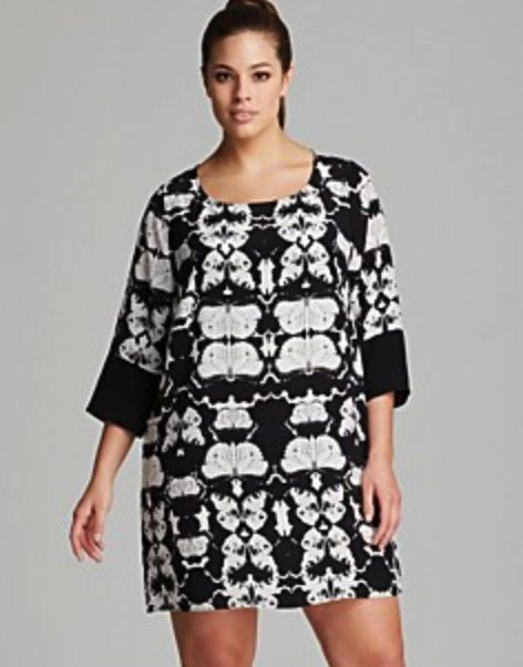 Plus Size Silk Black and White Butterfly Print Tunic Dress | Plus ...