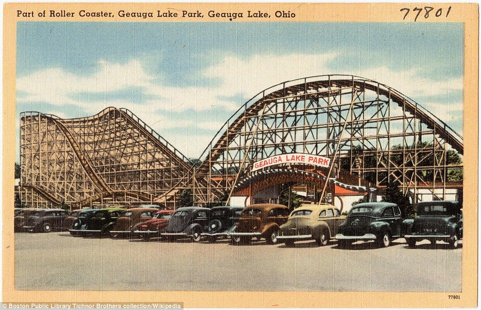 Simpler times: This postcard depicts part of a roller coaster at the then-named Geauga Lake Park taken some time between 1930 and 1945; Its name changed to Six Flags in 2000 before subsequently reverting to its old name in 2004 until closing in 2007