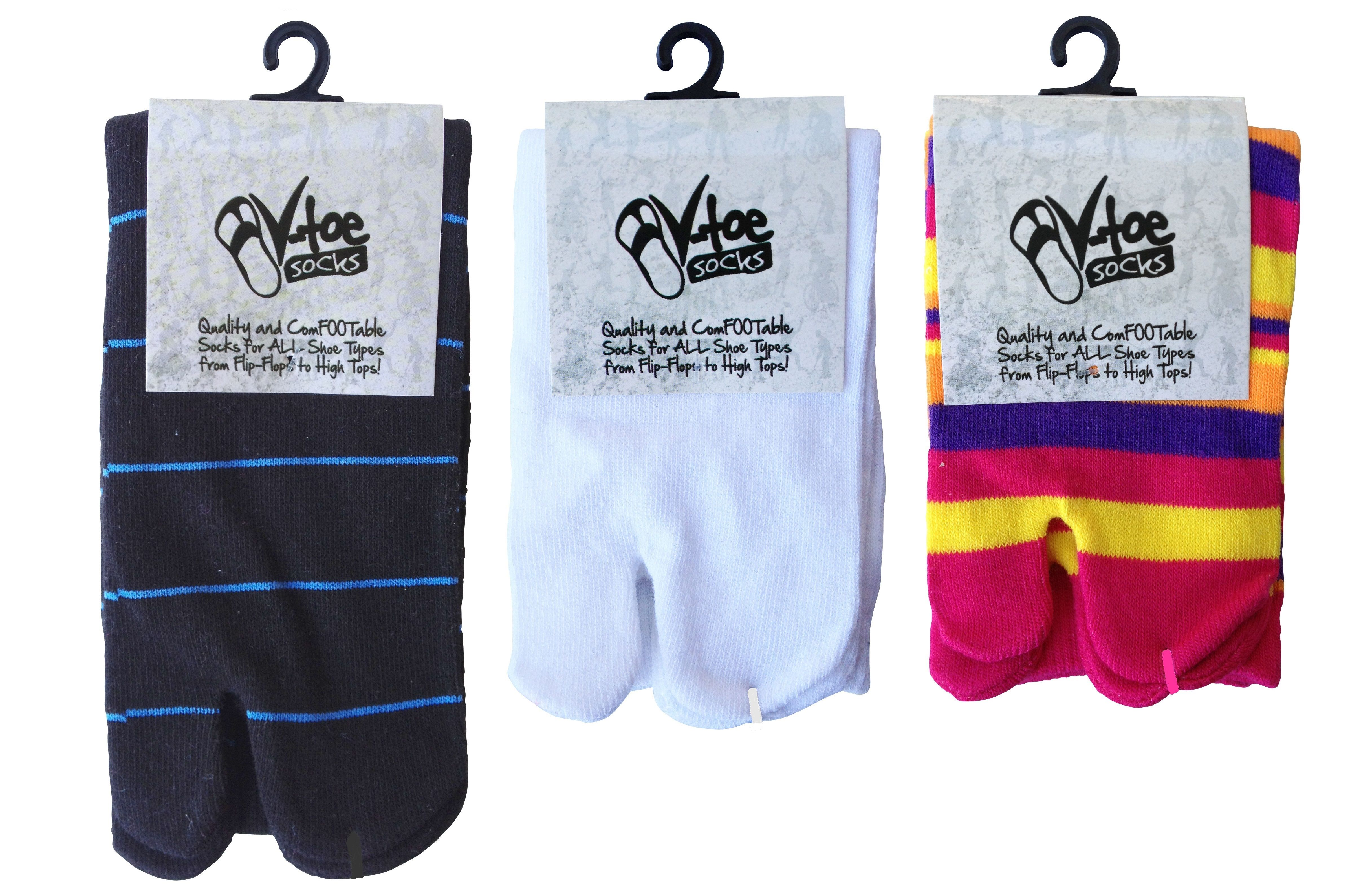 Family Fun Pack - 3 Pairs V-Toe Flip Flop Socks! Now on Amazon Prime!