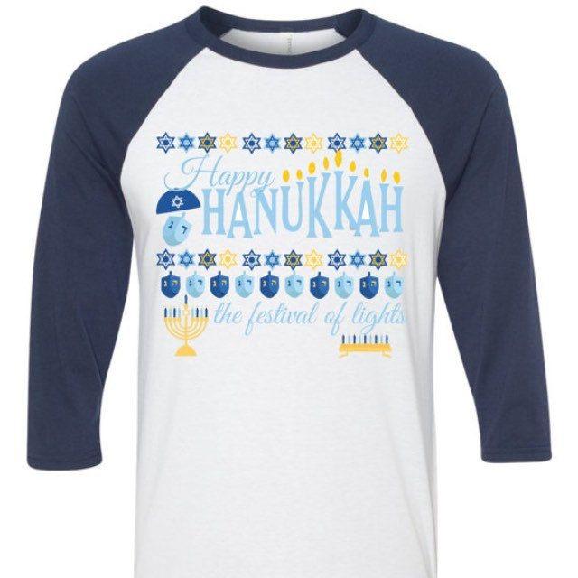happy hanukkah the festival of lights ugly sweater baseball tee