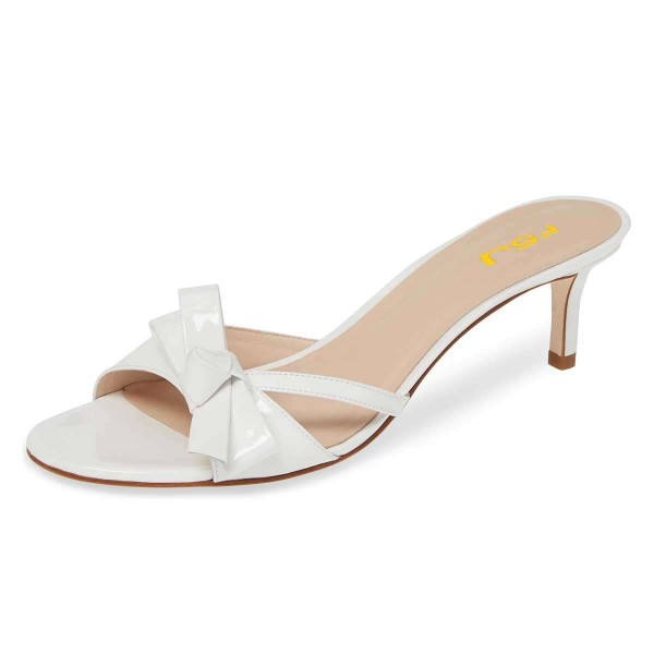 White Patent Leather Bow Kitten Heels Mule Sandals for