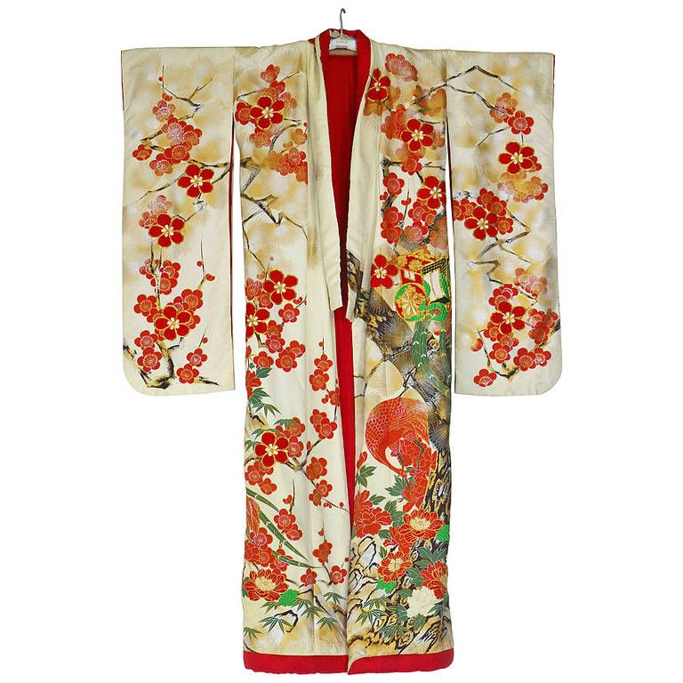 Vintage Japanese Silk Wedding Kimono Embroidered With Gold And Colorful Thread From A Unique Collection Of Anti Japanese Silk Vintage Japanese Wedding Kimono