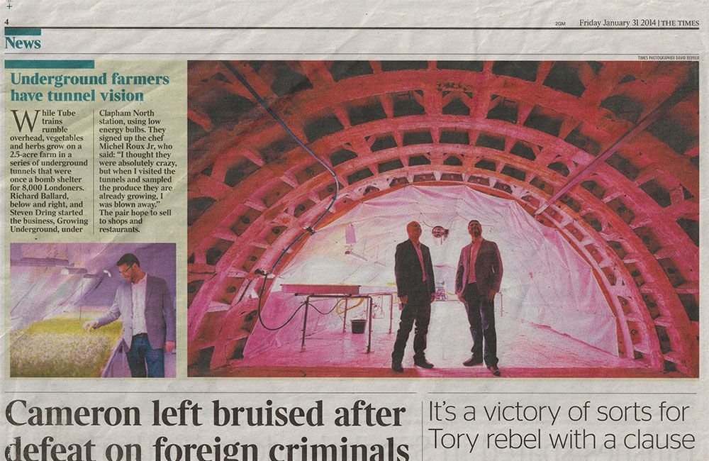 The Times - Underground Farmers Have Tunnel Vision