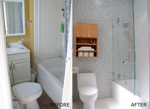 Small bathroom remodel pictures before and after tiny for Before and after small bathroom makeovers
